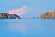 Trees reflected in the Saint John River at sunrise<br />Fredericton<br />New Brunswick<br />Canada