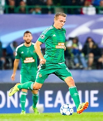19.08.2015, Ernst Happel Stadion, Wien, AUT, UEFA CL, SK Rapid Wien vs Schachtjor Donezk, Playoff, Hinspiel, im Bild Christopher Dibon (SK Rapid Wien)// during UEFA Champions League Playoff 1st Leg match between SK Rapid Vienna and FC Shakhtar Donetsk at the Ernst Happel Stadium in Vienna on 2015/08/19. EXPA Pictures © 2015, PhotoCredit: EXPA/ Sebstian Pucher