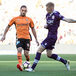 BRISBANE, AUSTRALIA - OCTOBER 30: Jack Hingert of the roar and Andy Keogh of the Glory compete for the ball during the round 4 Hyundai A-League match between the Brisbane Roar and Perth Glory at Suncorp Stadium on October 30, 2016 in Brisbane, Australia. (Photo by Patrick Kearney/Brisbane Roar)