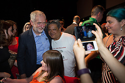 © Licensed to London News Pictures . 23/07/2016 . Salford , UK . Jeremy Corbyn poses for selfies after launching his campaign to be re-elected Labour Party leader , at the Lowry Theatre at Salford Quays . Photo credit : Joel Goodman/LNP