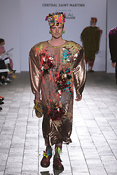 © Licensed to London News Pictures. 28/05/2013. London, England. Collection by James Buck. Central St Martins BA Fashion show with collections by graduate fashion students. Photo credit: Bettina Strenske/LNP