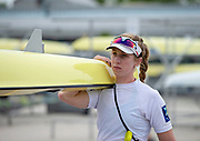 Plovdiv, Bulgaria, 9th May 2019, FISA, Rowing World Cup 1,  W2-, USA, USA1,(s)) Madeleine WANAMAKER, carrying boat.<br /> [© Peter SPURRIER]