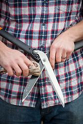 Polishing blades of hand shears with a cloth