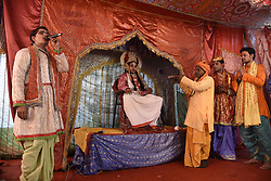 January 3, 2018 - Allahabad, Uttar Pradesh, India - Allahabad: Artist performing Ramayan at Sangam, the confluence of River Ganga, Yamuna and mythological Saraswati during Magh mela festival in Allahabad. (Credit Image: © Prabhat Kumar Verma via ZUMA Wire)