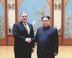 Apr 26, 2018 - Washington, District of Columbia, U.S. - Photos released by the White House of then CIA Director MIKE POMPEO, left,  meeting KIM JONG UN in Pyongyang over Easter weekend. (Credit Image: © White House via ZUMA Wire)