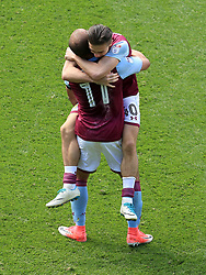 23 April 2017 - EFL Championship Football - Aston Villa v Birmingham City - Jack Grelish and Gabby Agbonlahor of Aston Villa celebrate the final whistle - Photo: Paul Roberts / Offside