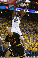 June 12, 2017 - Oakland, CA, USA - The Golden State Warriors' Kevin Durant (35) dunks the ball against the Cleveland Cavaliers' Richard Jefferson (24) in the second quarter of Game 5 of the NBA Finals at Oracle Arena in Oakland, Calif., on Monday, June 12, 2017. (Credit Image: © Nhat V. Meyer/TNS via ZUMA Wire)