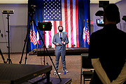 03 NOVEMBER 2020 - DES MOINES, IOWA: Television reporters do live stand ups before THERESA GREENFIELD, the Democratic candidate for the US Senate, delivers her concession speech at the Renaissance Des Moines Savery Hotel after her loss in the race for the US Senate. Greenfield conceded to incumbent Republican Sen. Joni Ernst at about 11:45PM November 3.     PHOTO BY JACK KURTZ