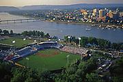 Aerial photo, City Island, Susquehanna River, Harrisburg Skyline, Harrisburg Senators baseball.