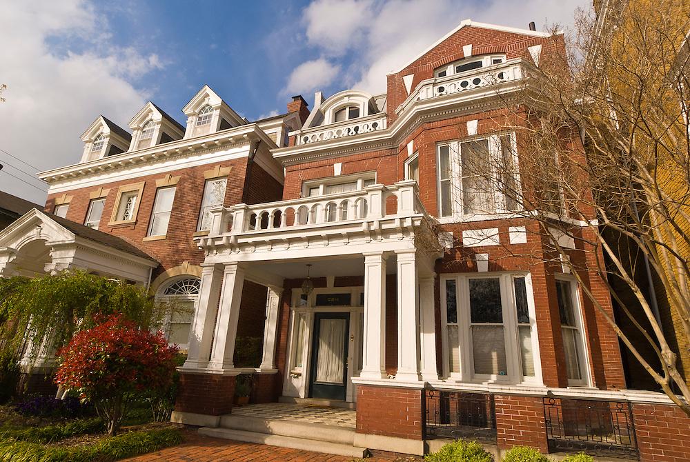 Houses along Monument Avenue (historic district), Richmond, Virginia USA