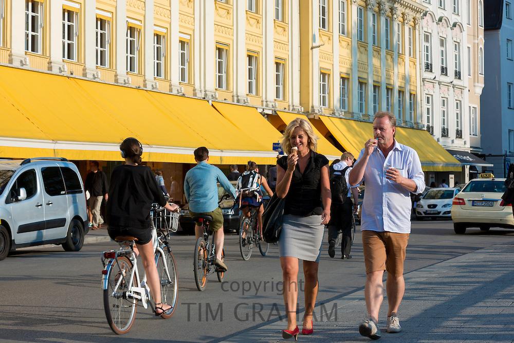 People passing Dallmayr food store in Dienerstrasse in  Munich, Bavaria, Germany