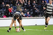 Hull FC outside back Carlos Tuimavave (3) scores his second try to make the score 12-24 during the Betfred Super League match between Hull FC and St Helens RFC at Kingston Communications Stadium, Hull, United Kingdom on 16 February 2020.