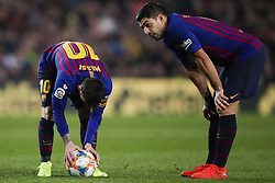 February 6, 2019 - Barcelona, Catalonia, Spain - February 6, 2019 - Camp Nou, Barcelona, Spain - Copa del Rey - FC Barcelona v Real Madrid CF; Lionel Messi of FC Barcelona and Luis Suarez of FC Barcelona ready for kick a free shoot  (Credit Image: © Marc Dominguez/ZUMA Wire)