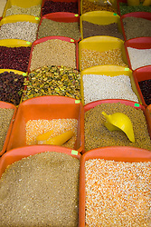 Corn and grains displayed in market, Cuzco, Peru, South America