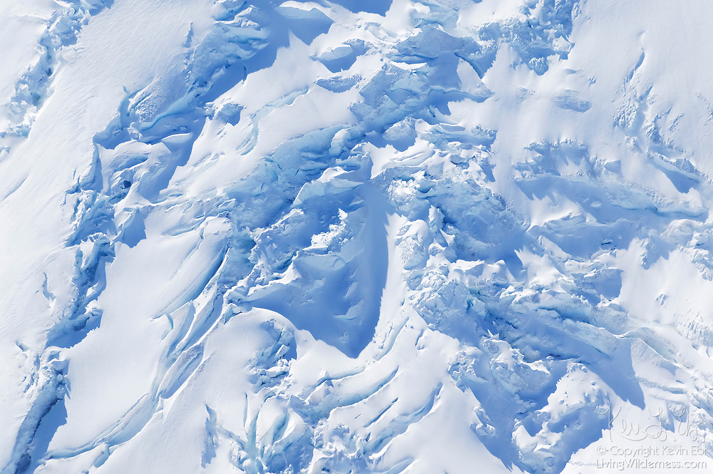 This aerial close-up shows the rugged texture of Mount Rainier's Emmons Glacier, the largest glacier in the 48 contiguous United States. Emmons Glacier has a surface area of 4.3 square miles (11 km²).