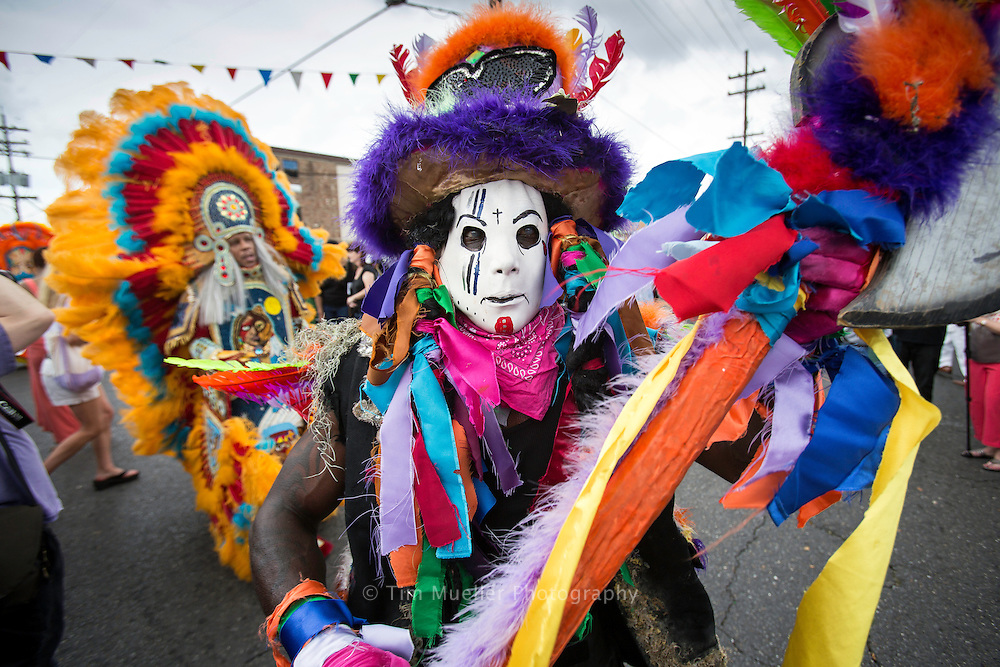 Mohawk Hunter Moss Man, Tyrone Casby, Jr., right, parades from A.L. Davis Park in New Orleans, La. during the Super Sunday Mardi Gras Indian Parade.