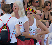 Plovdiv, BULGARIA. German Supporters, with Garland, Hat.  2015 FISA U23 Championships. 26.07.2015. Sunday, Finals Day. [Mandatory Credit: Peter SPURRIER/Intersport Images]