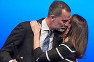 King Felipe VI of Spain, Queen Letizia of Spain attends the delivery to King Felipe VI of Spain of the 'World Peace & Liberty Award'  at the closing session of the 'World Law Congress (WLC)' of the 'World Jurist Association (WJA)' at Royal Theater on February 20, 2019 in Madrid, Spain