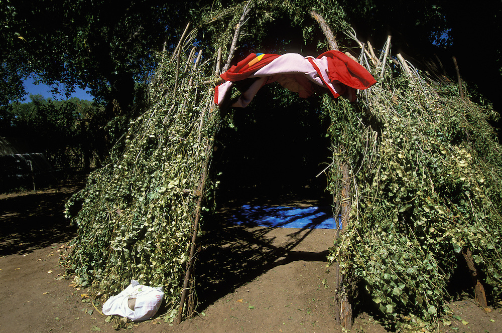 A wickiup used by an Apache girl during her Sunrise Dance, a first menstruation rite, on the San Carlos Apache Indian Reservation in Arizona, USA. The Sunrise Dance is the most important ceremony of the Apache. It is held during the summer, within one year after the girl has had her first menstruation, and lasts for four days. The rites are supposed to prepare the girl for adulthood and to give her a long and healthy life without material wants.