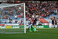 Ishmael Miller of Huddersfield town sees his effort hit the crossbar. Skybet football league Championship match, Huddersfield Town v Derby county at the John Smith's Stadium in Huddersfield , Yorkshire on Saturday 24th October 2015.<br /> pic by Chris Stading, Andrew Orchard sports photography.