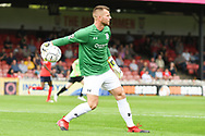 Adam Bartlett of York City (1) in action during the Vanarama National League North match between York City and Curzon Ashton at Bootham Crescent, York, England on 18 August 2018.