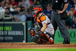 May 23, 2018 - Houston, TX, U.S. - HOUSTON, TX - MAY 23: San Francisco Giants catcher Nick Hundley (5) behind the plate in the fourth inning during MLB baseball game between the Houston Astros and the San Francisco Giants on May 23, 2018 at Minute Maid Park in Houston, Texas. (Photo by Juan DeLeon/Icon Sportswire) (Credit Image: © Juan Deleon/Icon SMI via ZUMA Press)