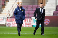 Referee William Collum (left) before the during the 4th round of the William Hill Scottish Cup match between Heart of Midlothian and Livingston at Tynecastle Stadium, Edinburgh, Scotland on 20 January 2019.