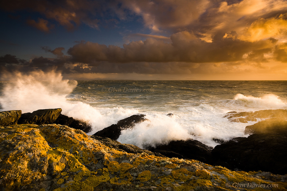 This was taken during a two hour outing to Anglesey's West Coast one Sundaty afternoon during serious gales and stormy weather. The seas were huge for Anglesey and were breaking over the clifs, the strong winds sending plumes of spray into the air and dousing the land with salty foam. As the sun dropped in the sky, the light became more and more intense until it created a theatrical floodlight, backlighting the spray from the crashing waves. The wind was blowing so hard I had to almost sit on the tripod to keep it steady and the lens needed wiping down every few seconds. It was fantastic to ne in these conditions alone on the cliff top because it generated an enormous sense of scale and vulnerability whilst perched there. At this time of year, when the sun setsm, the light diminishes rapidly so I had to tread careful over the wet cliff tops to get back to the van. It was an invigorating evening.