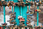 Locks affixed to a bridge in Wroclaw, Poland by lovers to symbolize their everlasting love.