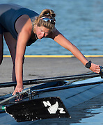 Amsterdam. NETHERLANDS. NZL W4-, Bow tighten's her gate, before the outing. 2014 FISA  World Rowing. Championships.  De Bosbaan Rowing Course . 08:04:36  Thursday  21/08/2014  [Mandatory Credit; Peter Spurrier/Intersport-images]