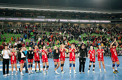 Players of Krim after the handball match between RK Krim Mercator and Larvik HK (NOR) of Women's EHF Champions League 2011/2012, on November 13, 2011 in Arena Stozice, Ljubljana, Slovenia. Larvik defeated Krim 22-19 but both teams qualified to new round. (Photo By Vid Ponikvar / Sportida.com)
