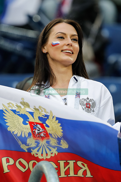 June 19, 2018 - Saint Petersburg, Russia - Russia supporter during the 2018 FIFA World Cup Russia group A match between Russia and Egypt on June 19, 2018 at Saint Petersburg Stadium in Saint Petersburg, Russia. (Credit Image: © Mike Kireev/NurPhoto via ZUMA Press)