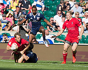 """Twickenham, Surrey United Kingdom. Harry JONES id taken down with the ball during the 3/4 Playoff game USA vs Canada at the """"2017 HSBC London Rugby Sevens"""",  Sunday 21/05/2017 RFU. Twickenham Stadium, England    <br /> <br /> [Mandatory Credit Peter SPURRIER/Intersport Images]"""