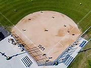 A morning game of softball. Greater Madison Senior Softball League. Verona, Wisconsin, USA.