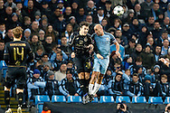 Celtic's Erik Sviatchenko (28) and Pablo Zabaleta (5) during the Champions League match between Manchester City and Celtic at the Etihad Stadium, Manchester, England on 6 December 2016. Photo by Craig Galloway.