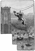Brooklyn Suspension Bridge, New York:  EF Farrington, master mechanic on the bridge, testing the first span of wire cables.  Wood engraving published 1883, the year the bridge opened. Designed and built by JA Roebling and his son WA Roebling.