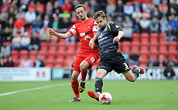 Leyton Orient's David Mooney chased down Walsall's Andy Taylor - photo mandatory by-line David Purday JMP- Tel: Mobile 07966 386802 23/08/14 - Leyton Orient v Walsall - SPORT - FOOTBALL - Sky Bet Leauge 1 - London -  Matchroom Stadium