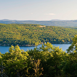 Birch Hill rises from the shores of Merrymeeting Lake as seen from Caverly Mountain in New Durham, New Hampshire.