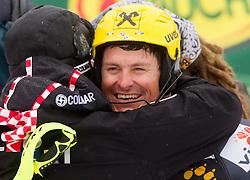 Vedran Pavlek and winner KOSTELIC Ivica  of Croatia during 2nd Run of the 10th Men's Slalom - Pokal Vitranc 2013 of FIS Alpine Ski World Cup 2012/2013, on March 10, 2013 in Vitranc, Kranjska Gora, Slovenia. (Photo By Vid Ponikvar / Sportida.com)