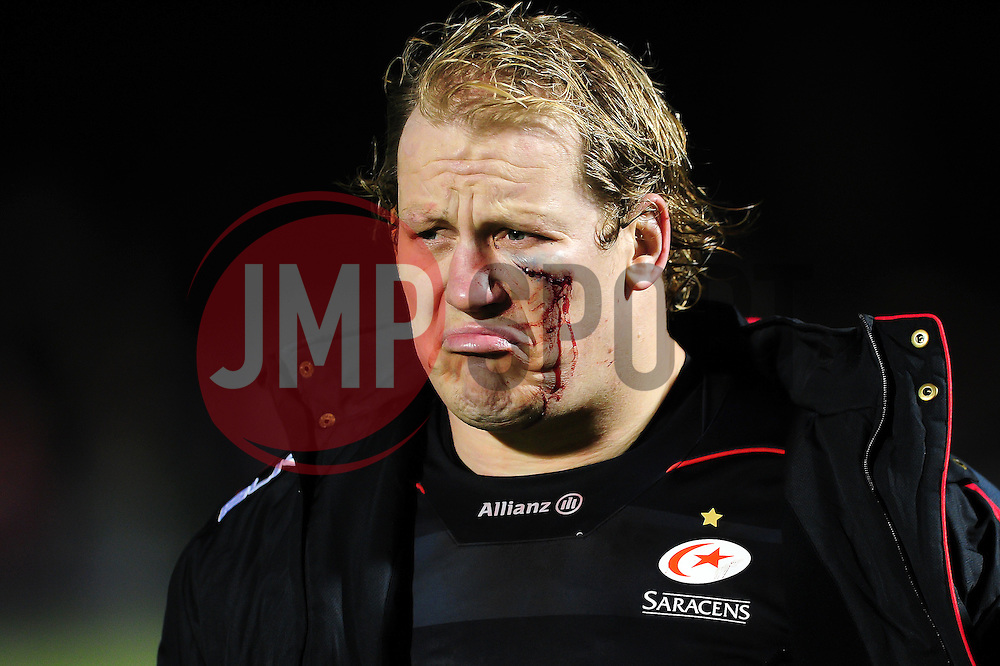 A bloodied Petrus Du Plessis of Saracens looks on after the match - Mandatory byline: Patrick Khachfe/JMP - 07966 386802 - 05/02/2017 - RUGBY UNION - Allianz Park - London, England - Saracens v Leicester Tigers - Anglo-Welsh Cup.