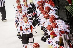 Jesenice players celebrate during Hockey match between SZ HD Olimpija and HDD Jesenice in 4tht match of Quarterfinals of Alps Hockey League, on March 13, 2018 in Hala Tivoli, Ljubljana, Slovenia. Photo by Ziga Zupan / Sportida