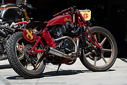 This 2016 1131cc / 69 ci RSD Indian Scout number 8 Racer was the first custom-framed modern Indian Scout. Parked out behind the Roland Sands Design (RSD) retail and office location, Los Alamitos, CA. Monday June 25, 2018. Photography ©2018 Michael Lichter.