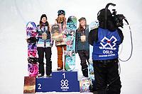 Snowboard , X-Games Oslo <br /> 26. Februar 2016  , 20160226<br /> Snowboard, Half Pipe, Wyller, X-Games <br /> (F.v) Kelly Clark , Chloe Kim og Arielle Gold sammen på seierspallen etter kvinnenes finale i Wyller<br /> Foto: Sjur Stølen / Digitalsport