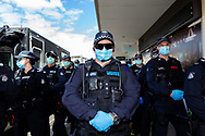 MELBOURNE, VIC - SEPTEMBER 20: Public Order Response Teams arrive at Chadstone Shopping Centre as they respond to a small group pf protesters who appeared in the Supermarket and quickly dispersed before any arrests could be made during a series of pop up Freedom protests on September 20, 2020 in Melbourne, Australia. Freedom protests are being held in Melbourne every Saturday and Sunday in response to the governments COVID-19 restrictions and continuing removal of liberties despite new cases being on the decline. Victoria recorded a further 14 new cases overnight along with 7 deaths. (Photo by Dave Hewison/Speed Media)