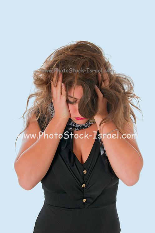 Emotional woman showing stress
