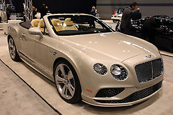 11 February 2016:  Bentley Continental GT Convertible.<br /> <br /> First staged in 1901, the Chicago Auto Show is the largest auto show in North America and has been held more times than any other auto exposition on the continent.  It has been  presented by the Chicago Automobile Trade Association (CATA) since 1935.  It is held at McCormick Place, Chicago Illinois<br /> #CAS16
