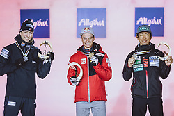 04.03.2021, Oberstdorf, GER, FIS Weltmeisterschaften Ski Nordisch, Oberstdorf 2021, Herren, Nordische Kombination, Einzelbewerb, Siegerehrung, im Bild v.l.: Silbermedaillengewinner Jarl Magnus Riiber (NOR), Weltmeister und Goldmedaillengewinner Johannes Lamparter (AUT), Bronzemedaillengewinner Akito Watabe (JPN) // f.l.: Silver medalist Jarl Magnus Riiber of Norway World champion and gold medalist Johannes Lamparter of Austria Bronze medalist Jarl Magnus Riiber of Norway during the winner ceremony of men Nordic combined Single of FIS Nordic Ski World Championships 2021 in Oberstdorf, Germany on 2021/03/04. EXPA Pictures © 2021, PhotoCredit: EXPA/ Dominik Angerer