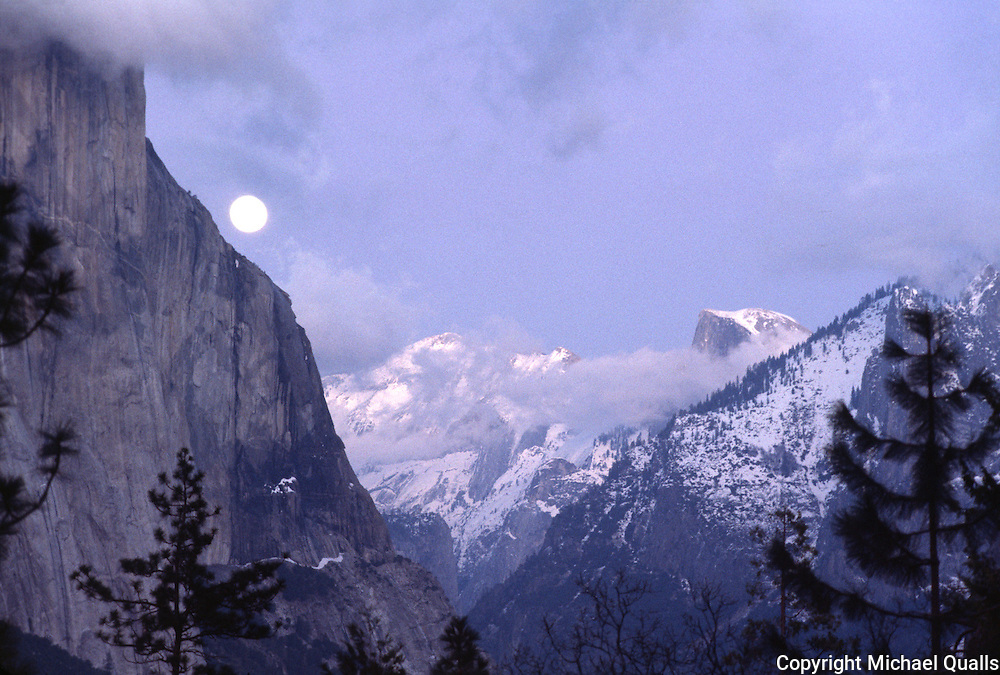 El Capitan, Half Dome, and Cloud's Rest by moonlight from the tunnel entrance
