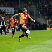 Galatasaray's Hamit Altintop (C) and Genclerbirligi's Ante Kulusic (R) during their Turkish Super League soccer match Galatasaray between Genclerbirligi at the TT Arena at Seyrantepe in Istanbul Turkey on Friday, 08 March 2013. Photo by Aykut AKICI/TURKPIX