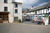 hawkshead village centre, with shops and a pub